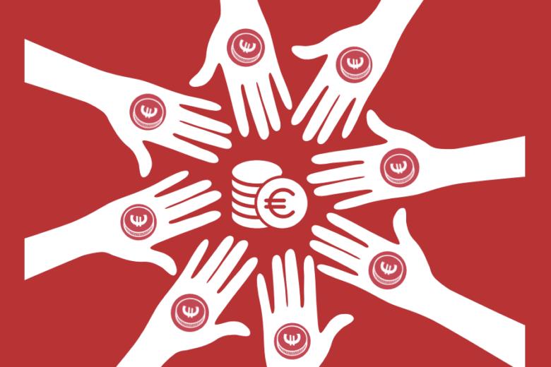 Grafik Händen mit Euromünzen in einem Kreis. So finanziert sich Campact