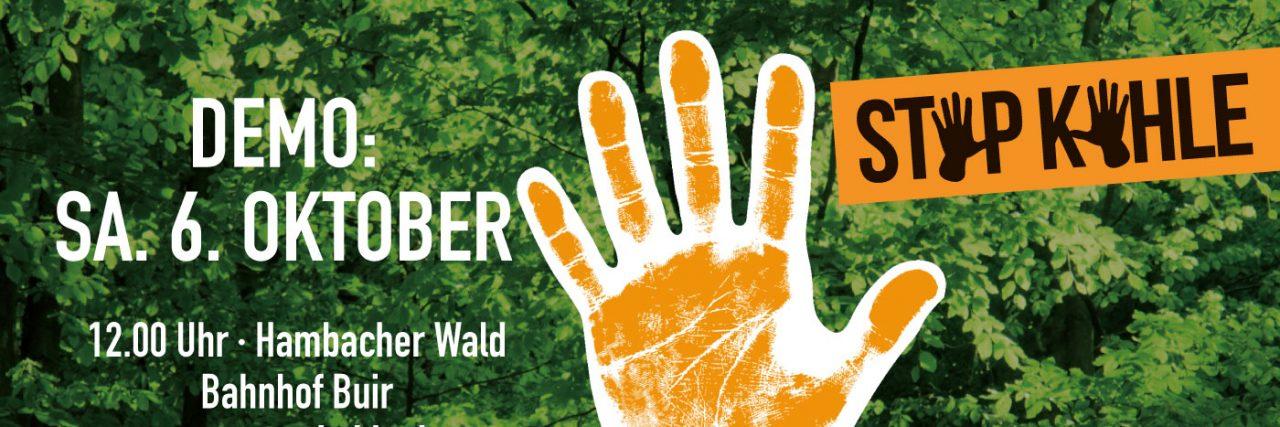 Wald retten - Kohle stoppen! Demo Sa 6. Oktober