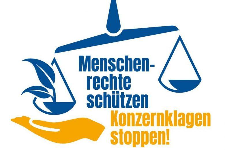 Logo: Menschenrechte schützen - Konzernklagen stoppen!