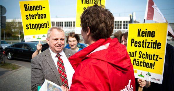 Aktion auf der Agrarministerkonferenz in Cottbus