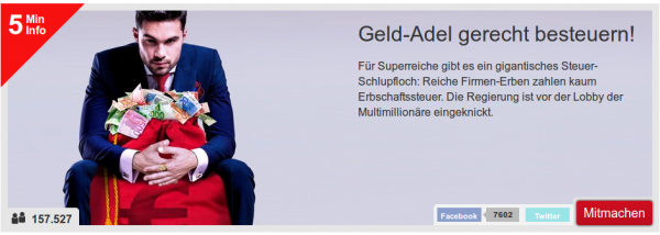 Kampagnen Grafik Geldadel gerecht besteuern. Mann in blauem Anzug sitzt hinter einem roten Sack voller Geldscheine