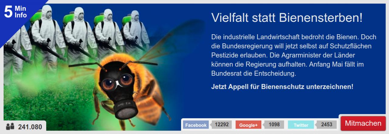 Bienensterben stoppen. Fordern Sie jetzt ein Verbot von Pestiziden auf Flächen für den Artenschutz.