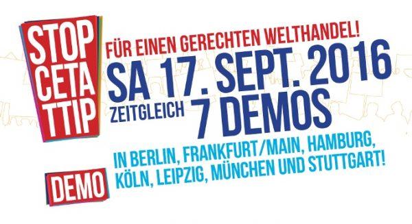 Grafik mit Aufruf zur Demonstration für einen gerechten Welthandel in sieben Städten am 17. September 2016