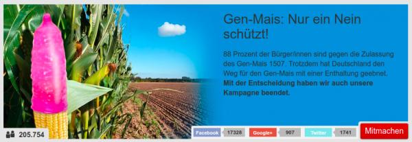 Kampagnen-Grafik Gen-Mais: Nur ein Nein schützt!