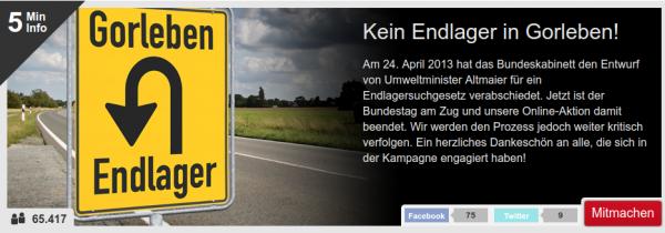 """Kampagnenbild Endlager Kampagne: Verkehrsschild """"Endlager wendet vor Gorleben"""""""