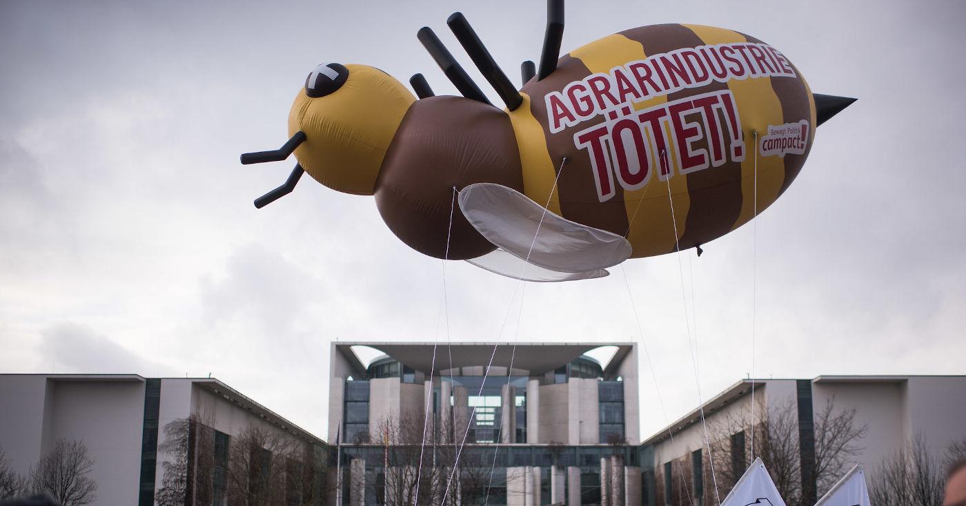 Riesige aufblasbare Biene schwebt in der Luft, darauf der Schriftzug: Agrarindustrie tötet