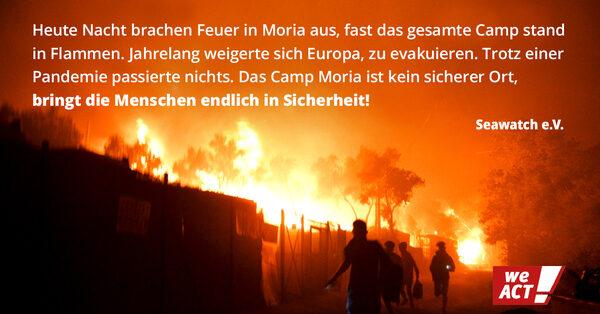 Moria brennt. Evakuierung jetzt.