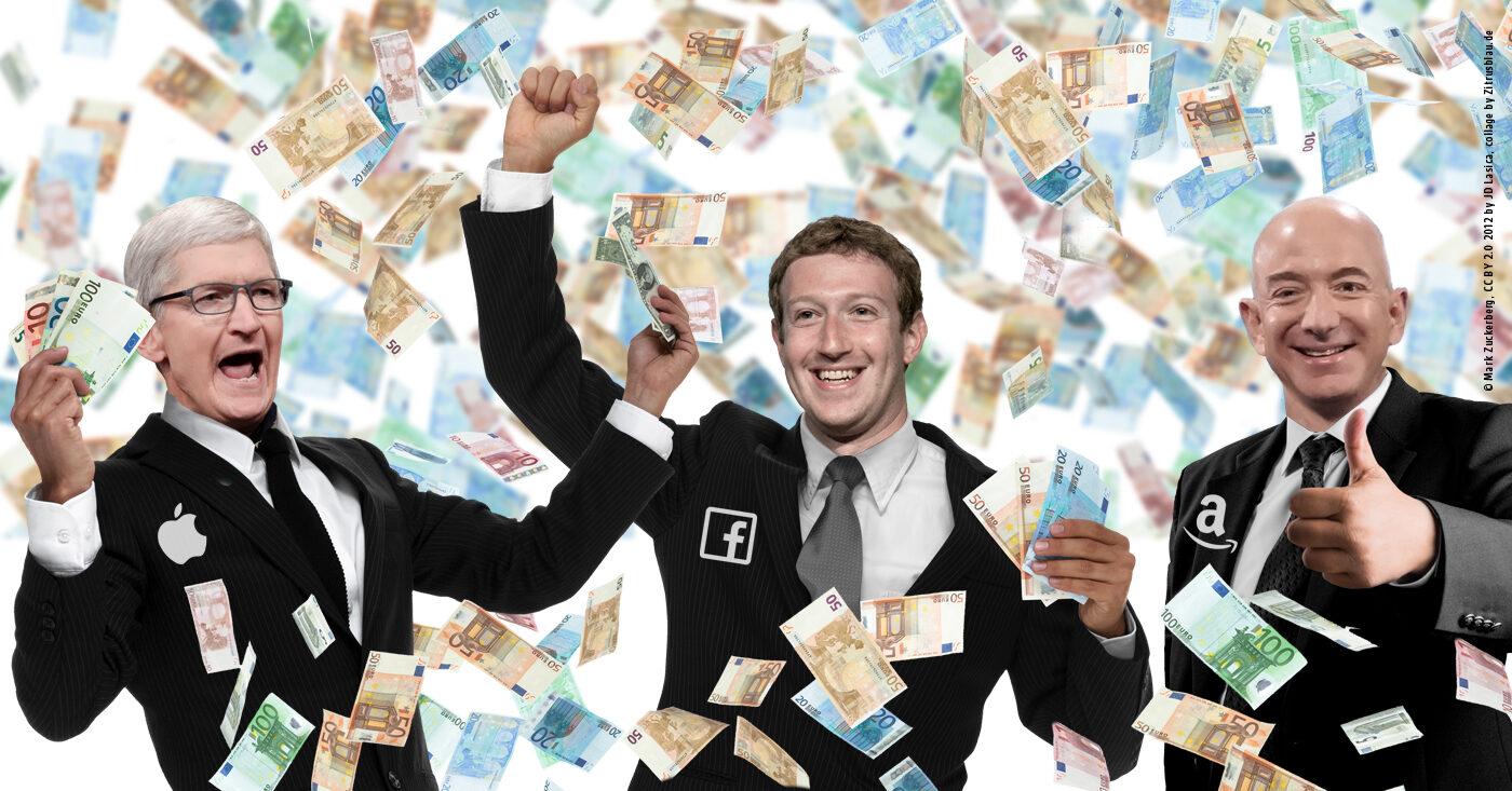 Konzernmanager von Amazon, Facebook und Google jubeln im Geldregen: Sie zahlen kaum Steuern in der EU (Fotomontage)