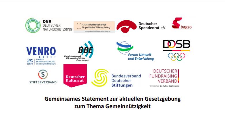 Ansammlung von Logos: Gemeinsames Statement zur aktuellen Gesetzgebung zum Thema Gemeinnützigkeit