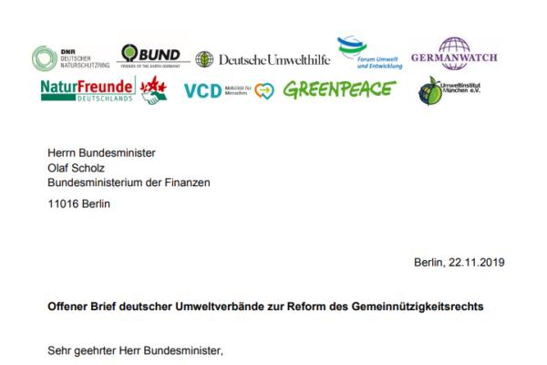 Brief dt. Umweltverbände Gemeinnützigkeit an Olaf Scholz