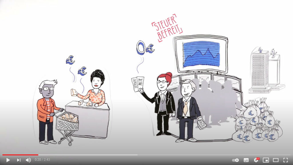 YouTube-Screenshot: Campact setzt sich für die Finanztransaktionssteuer ein - die gerechteste Steuer der Welt.