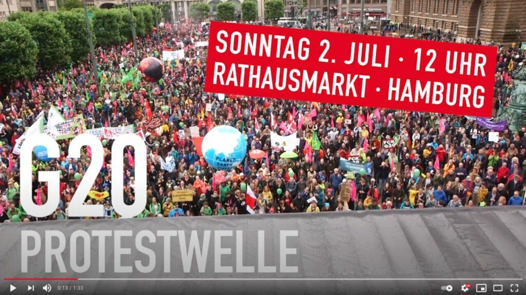 YouTube-Screenshot: 25000 Menschen demonstrieren am Rathausmarkt in Hamburg unter dem Motto G20 Protestwelle für eine bessere Welt