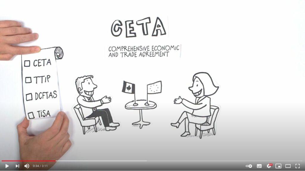 Screenshot Youtube: Vertreter der EU und Kanada sitzen sich an einem Tisch gegenüber und wollen CETA beschließen, wodurch TTIP der Weg geebnet werden kann.