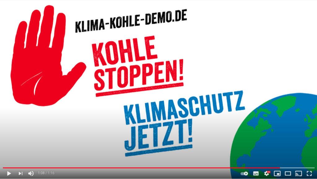 Screenshot Youtube Campact: Klimaschutz jetzt! Kohle stoppen! Demo in Berlin und Köln.