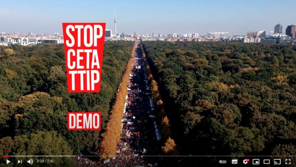 YouTube-Screenshot: Hunderttausende demonstrieren gegen TTIP und CETA.