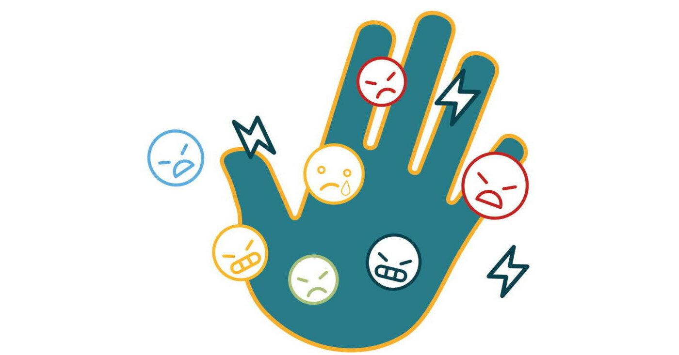 Illustration einer Hand mit verschiedenen Emoticons: Campact veröffentlich die erste bundesweite Vergleichstudie zu Hate Speech