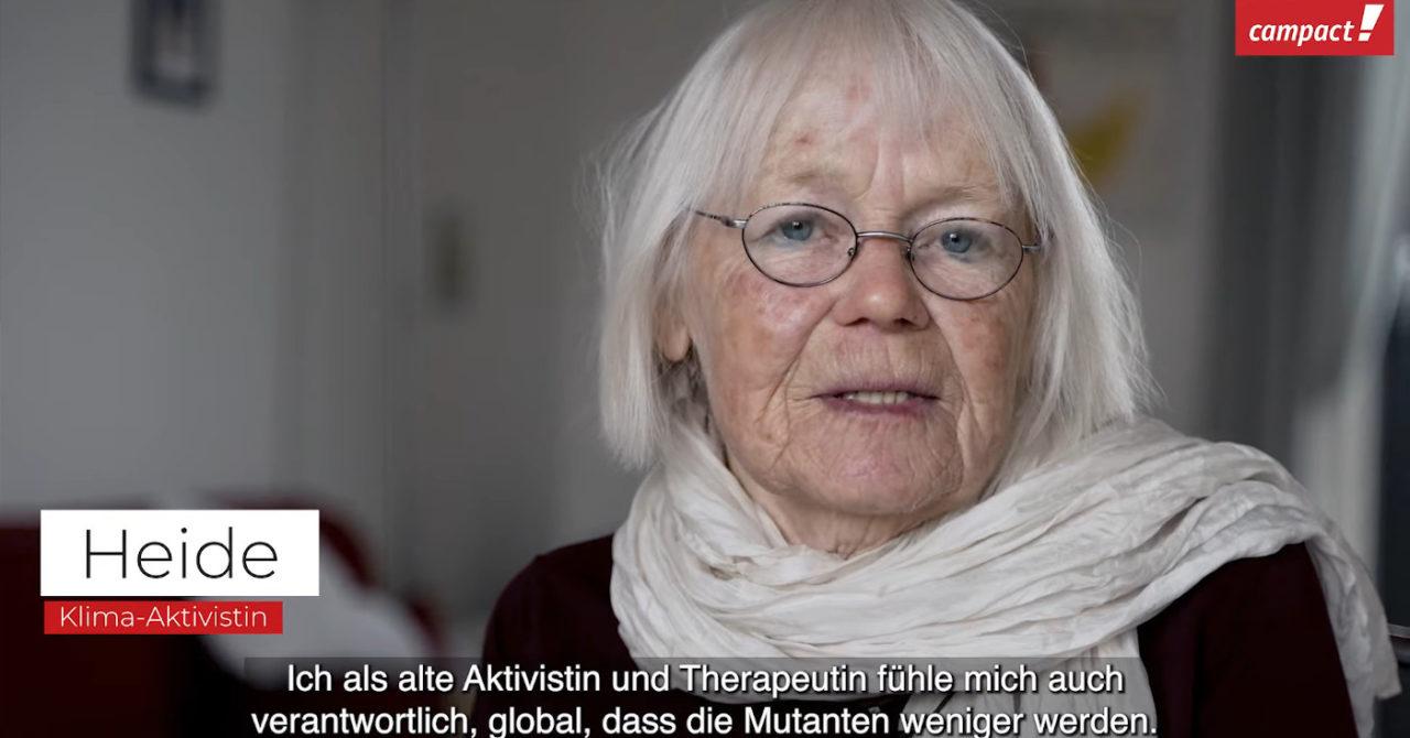 Screenshot von Klima-Aktivistin Heide: Heide erklärt im Impf-Video von Campact, warum sie sich für die Impfung entscheiden hat.