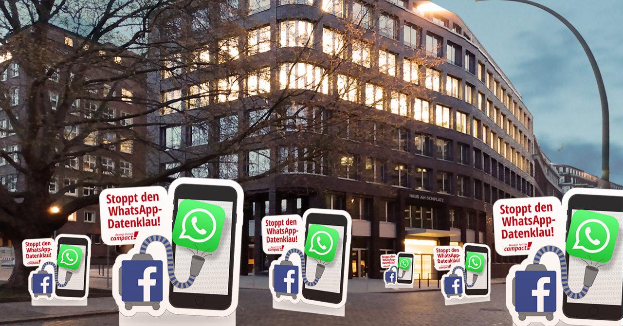 Vorm Facebook-Gebäude sind übergroße Smartphones mit WhatsApp Icon. Davor ein Staubsauger mit Facebook-Logo. Die Grafik hat die Aufschrift: Stoppt den WhatsApp-Datenklau.