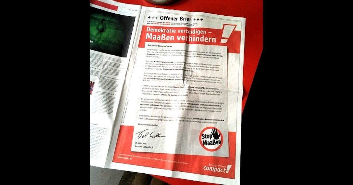 """Foto eines offenen Briefes: """"Demokratie verteidigen. Maaßen verhindern!"""""""