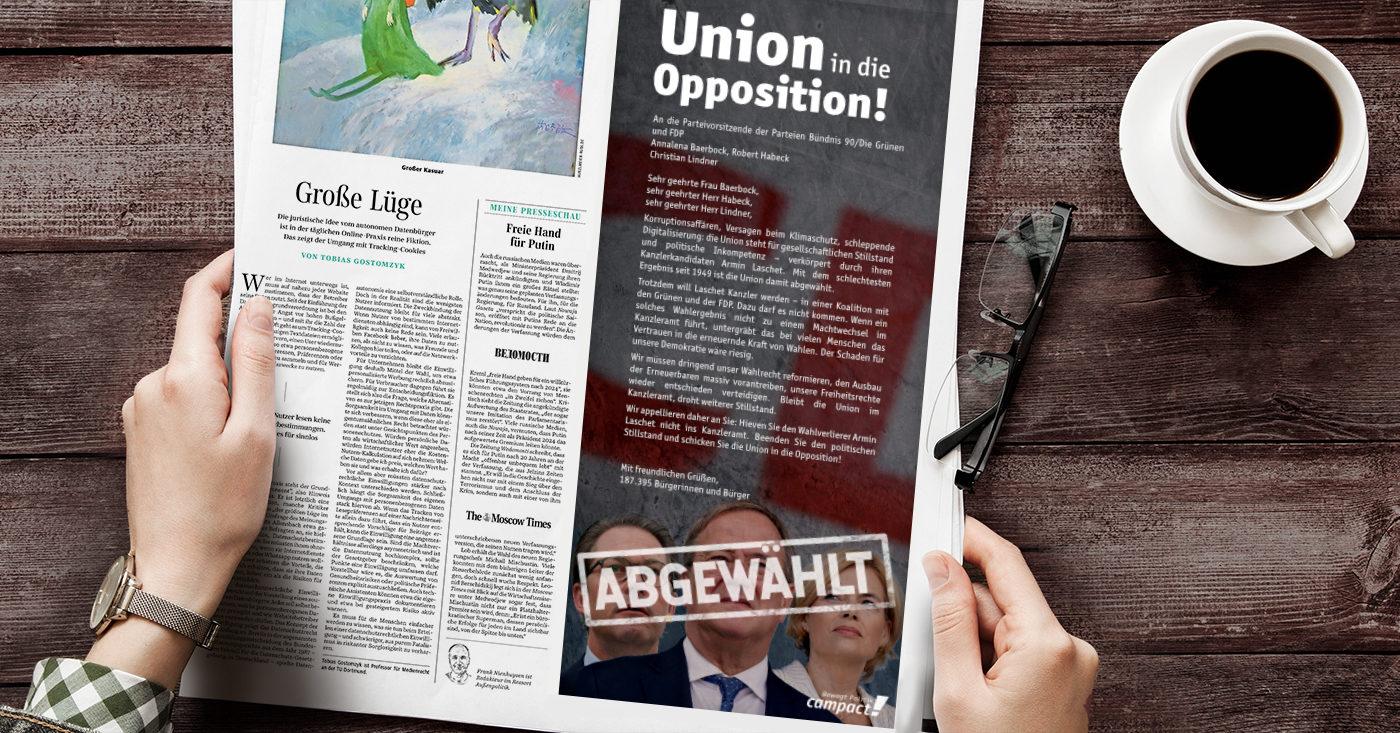 Die Union ist abgewählt, ein Campact-Appell fordert die Union in die Opposition zu schicken